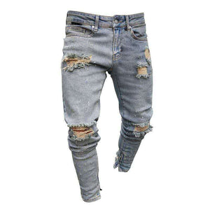 Land of Nostalgia Men's Ripped Trousers Pants Distress Skinny Slim Jeans