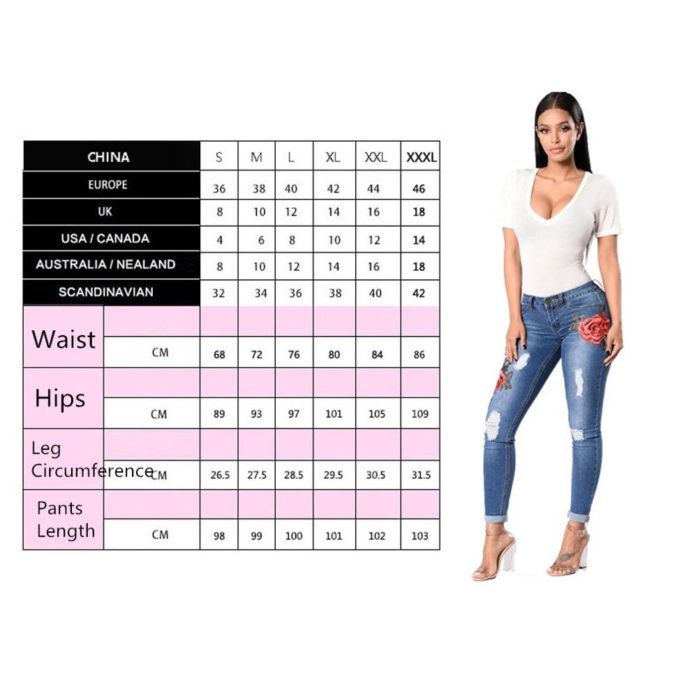 Land of Nostalgia Women's Slim Ripped Trousers Skinny Pencil Pants Embroidery Flower Jeans