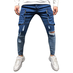 Land of Nostalgia Men's Denim Trousers Skinny Ripped Jeans with Side Pocket