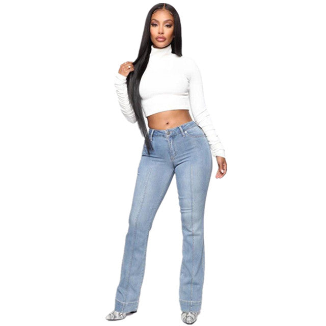 Land of Nostalgia Casual Women's Straight Skinny Trousers Denim Jeans