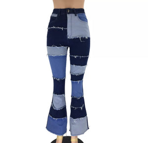 Land of Nostalgia Customize High Waist Bell Bottom Flare Patchwork Women's Jeans
