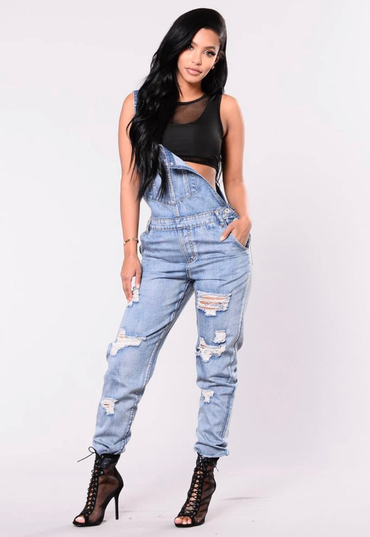 Land of Nostalgia Women's Ripped Denim Jeans Overalls