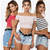 Land of Nostalgia Women's Casual Off Shoulder Crop Top Tank Top