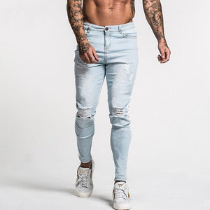 Land of Nostalgia Distressed Men's Stretch Skinny Ripped Blue Slim Fit Jeans