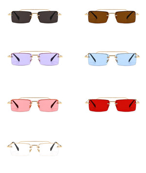 Land of Nostalgia Metal Unisex Retro Rectangle Sunglasses