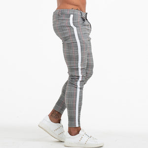 Land of Nostalgia Men's Plaid Skinny-Fit Pants with Side Stripe
