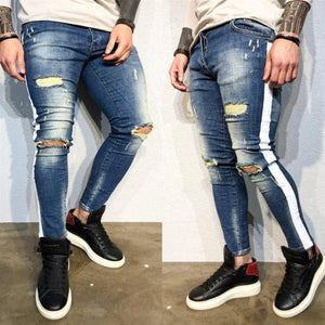 Land of Nostalgia Casual Skinny Jeans Straight with White Side Stripe