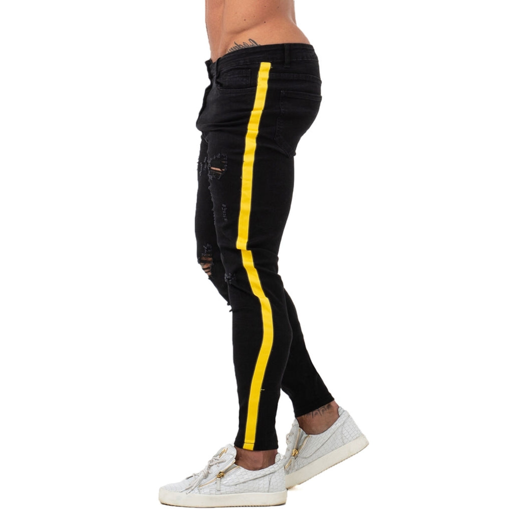 Land of Nostalgia Black Denim Skinny Jeans with Yellow Stripe
