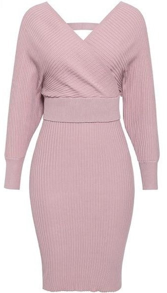 Land of Nostalgia Knitted V-Neck Long Sleeve 2 Piece  Euphoria Dress