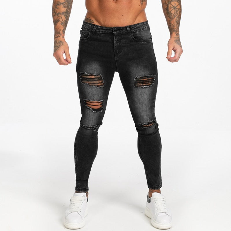 Land of Nostalgia Men's Elastic Waist Black Casual Ripped Denim Jeans