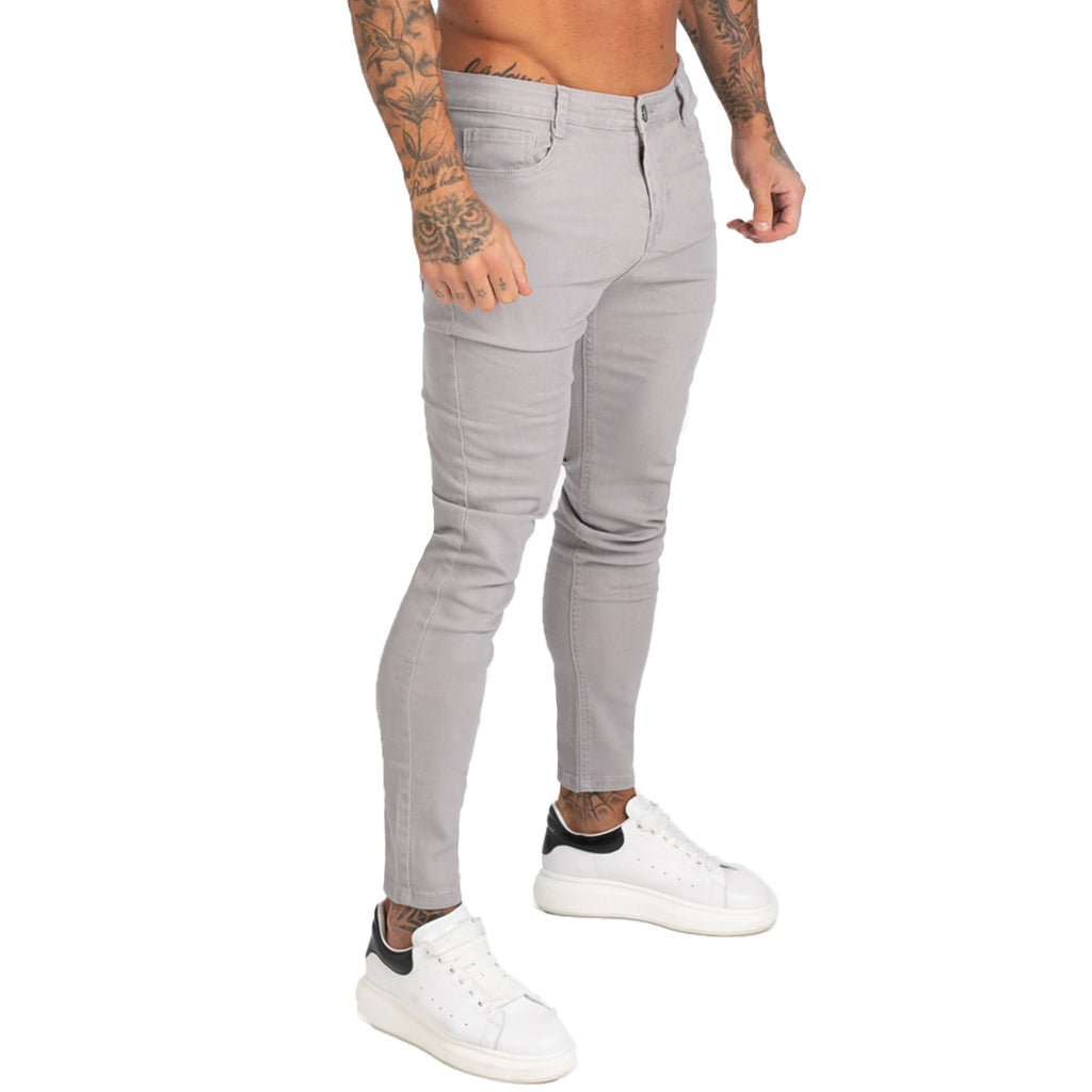 Land of Nostalgia Hip Hop Men's Skinny Denim Pants Slim Fit Stretch Gray Jeans