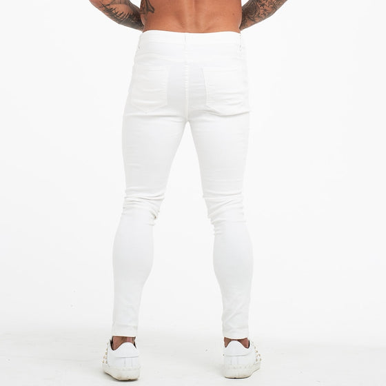 Land of Nostalgia Elastic High Waist Pants Men's Stretch Summer White Jeans