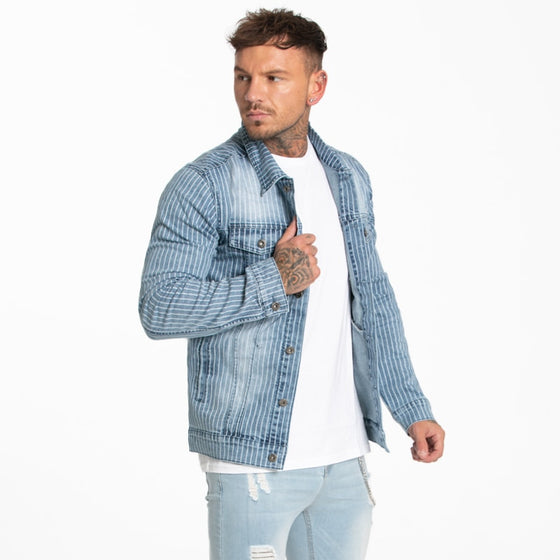 Land of Nostalgia Men's Fashion Stripe Skinny Light Blue Denim Coat Jackets