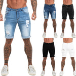 Land of Nostalgia Men's High Waist Ripped Summer Fitness Denim Jeans Short