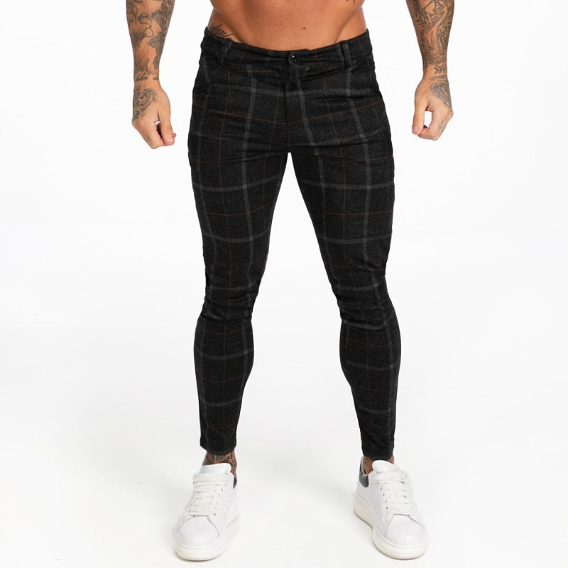 Land of Nostalgia Men's High Waist Black Autumn Winter Plaid Pants