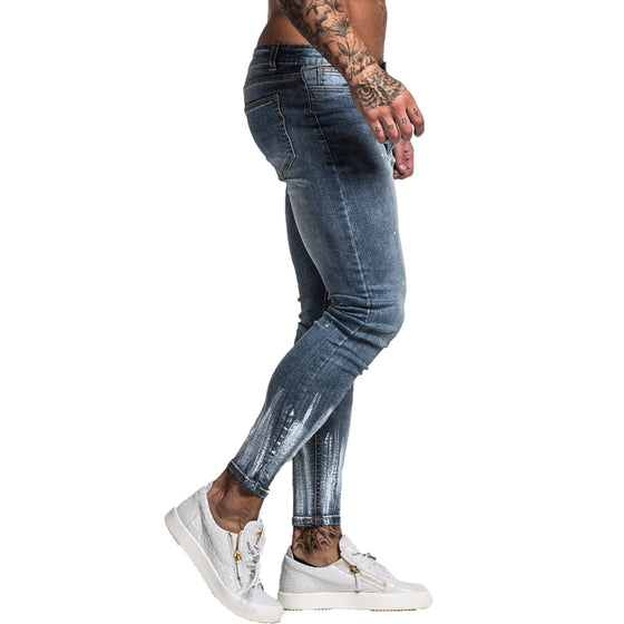 Land of Nostalgia Men's Hip Hop Streetwear Super Skinny Slim Fit Jeans