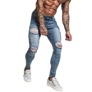 Land of Nostalgia Men's Hip Hop Distressed Skinny Slim Stretch Repaired Jeans