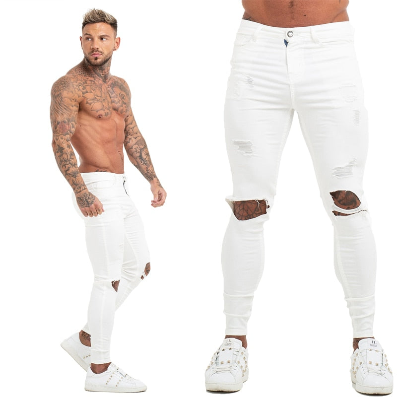 Land of Nostalgia Men's Elastic Waist White Distressed Skinny Ripped Pants Jeans
