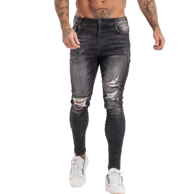 Land of Nostalgia Distressed Hip Hop Streetwear Ripped Pants Men's Super Skinny Slim Fit Jeans