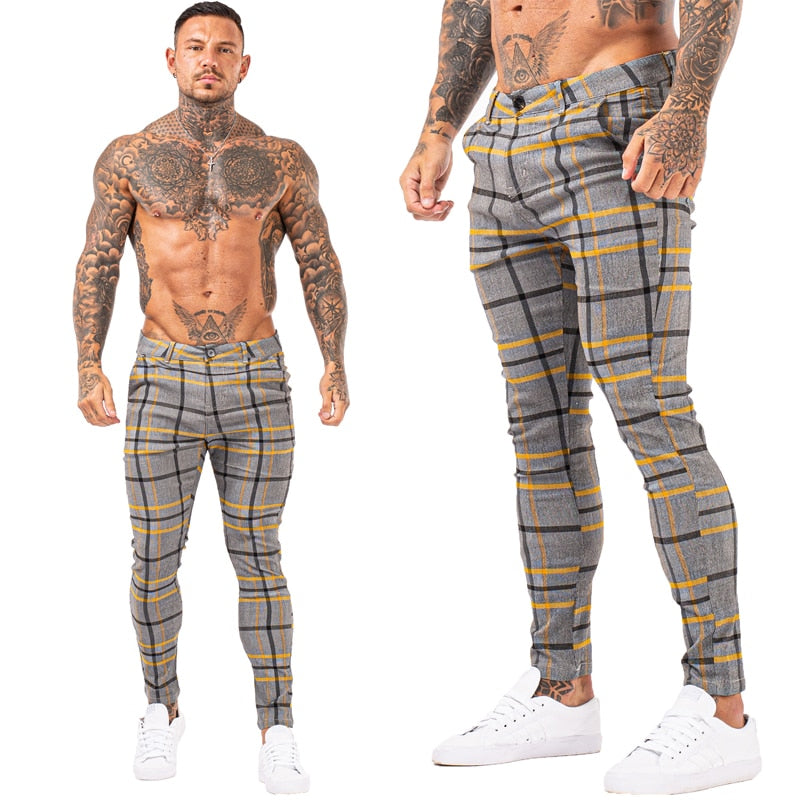 Land of Nostalgia Trousers Elastic Waist Plaid Chino Pants Slim Fit Super Stretch for Men
