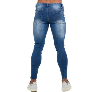 Land of Nostalgia Men's Stretch Blue Skinny Slim Fit Distressed Ripped Elastic Waist Jeans