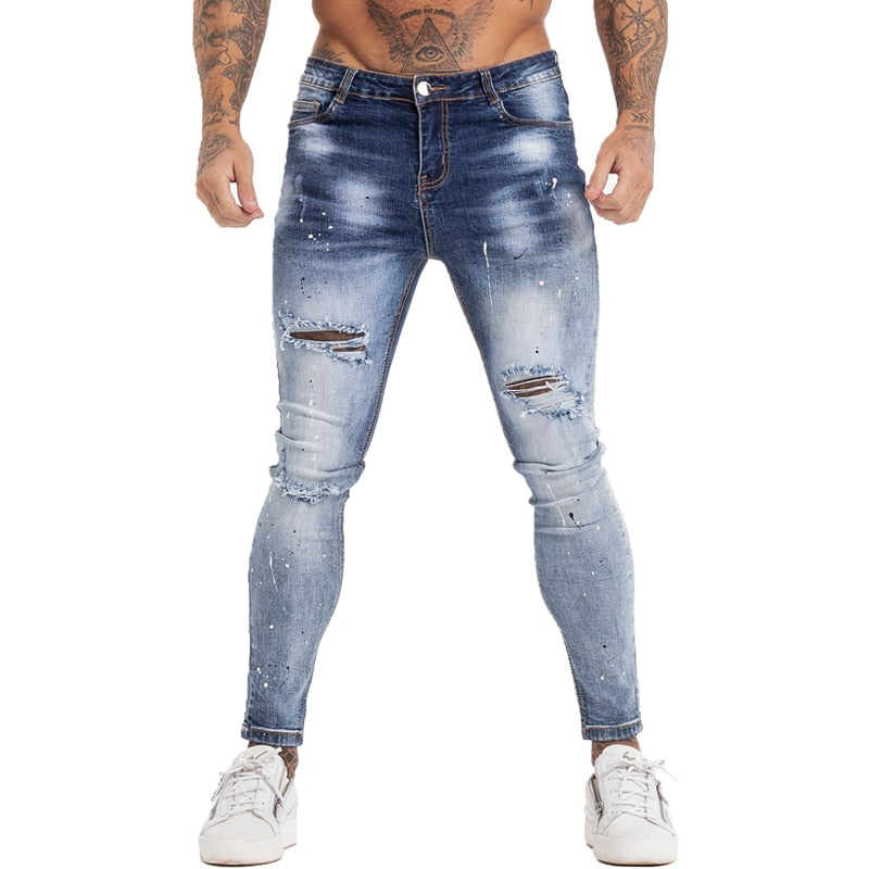 Land of Nostalgia Stretch Men's Elastic Waist Streetwear Blue Denim Ripped Pants Skinny Jeans