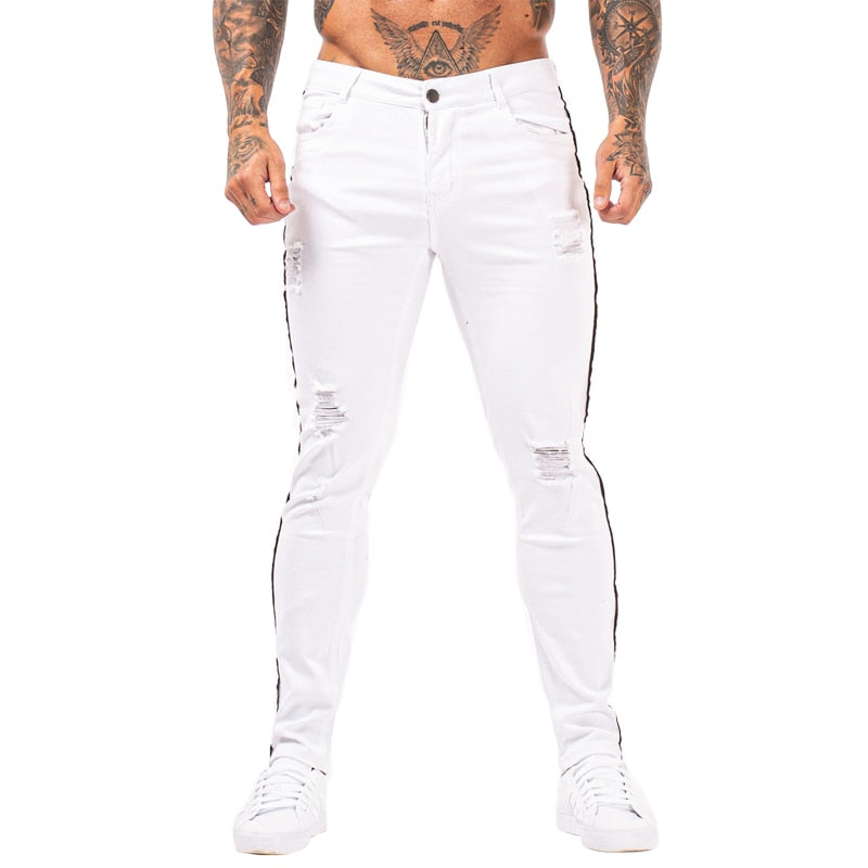 Land of Nostalgia White Hip Hop Elastic Waist Pants Men's High Waist Stretch Slim Jeans