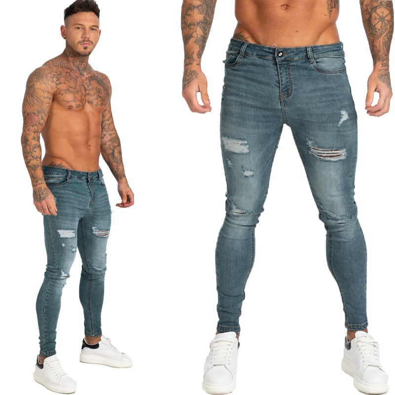 Land of Nostalgia Distressed Men's Hip Hop Super Skinny Repaired Stretch Slim Fit Jeans