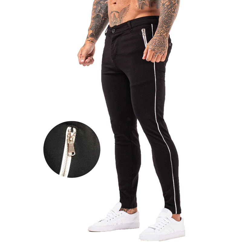 Land of Nostalgia Men's High Waist Super Stretch Black Chino Skinny Slim Pants