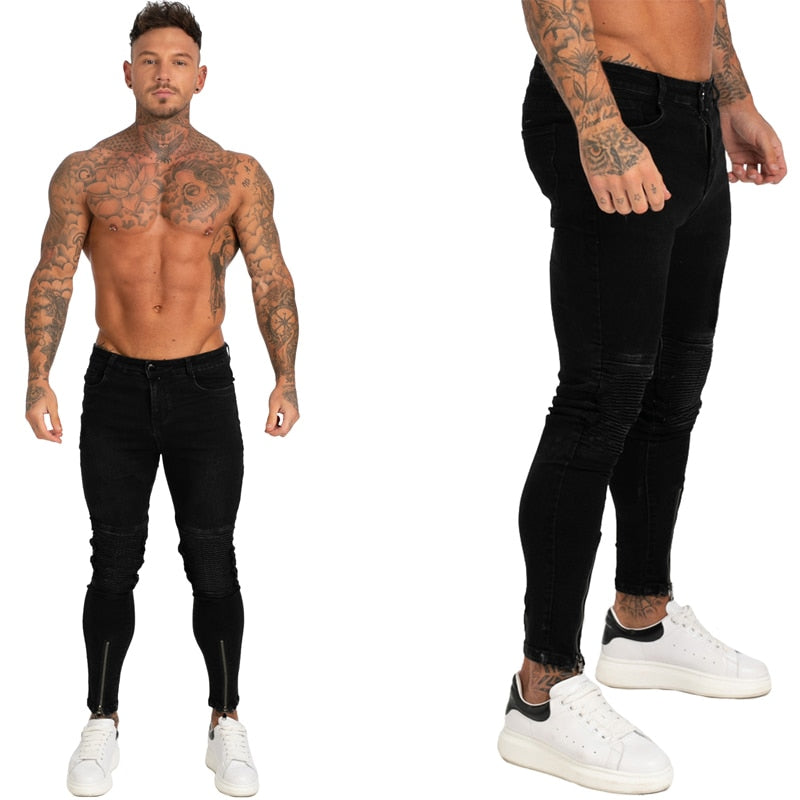 Land of Nostalgia High Waist Men's Super Stretch Slim Fit Pants Skinny Black Jeans