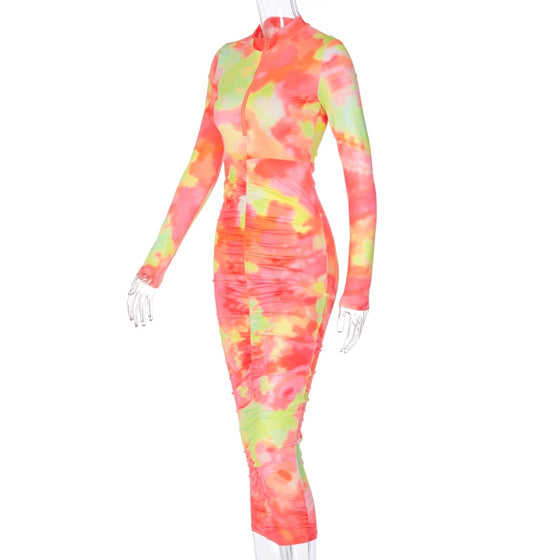 Land of Nostalgia Long Sleeve Tie Dye Zipper Ruched Women's Maxi Bodycon Dress