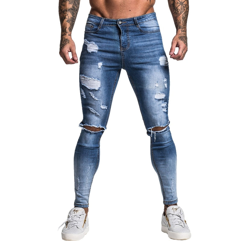 Land of Nostalgia Men's Distressed Elastic Waist Skinny Slim Fit Blue Ripped Stretch Jeans