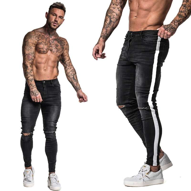 Land of Nostalgia Streetwear Stretch Skinny Hommes Ripped Pants Denim Jeans for Men