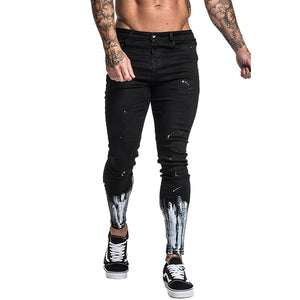 Land of Nostalgia Men's Hommes Stretch Skinny Ripped Pants Streetwear Denim Jeans