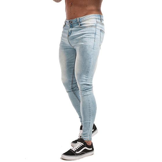 Land of Nostalgia Elastic Waist Men's Distressed Skinny Slim Fit Ripped Jeans