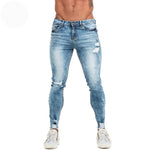 Land of Nostalgia Distressed Elastic Waist Men's Stretch Slim Fit Blue Ripped Jeans