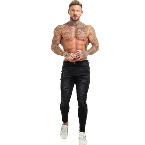 Land of Nostalgia Distressed Men's Elastic Waist Slim Fit Ripped Black Jeans
