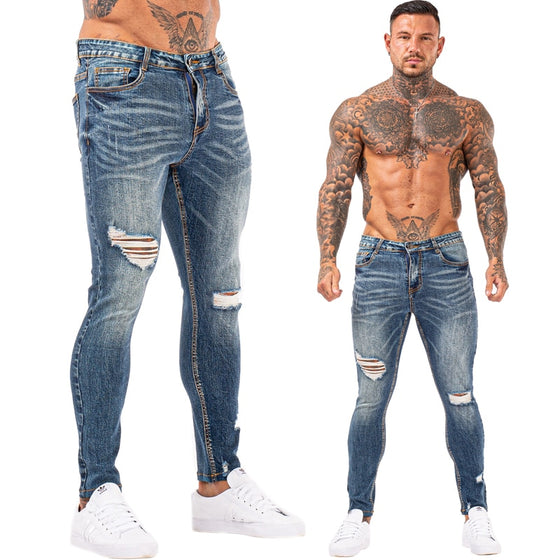 Land of Nostalgia Elastic Waist Distressed Skinny Slim Fit Blue Stretch Ripped Jeans