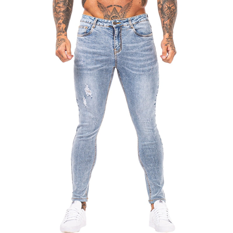 Land of Nostalgia Distressed Men's Skinny Stretch Elastic Waist Slim Fit Ripped Jeans