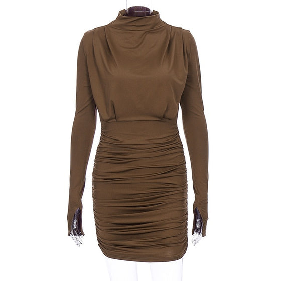 Land of Nostalgia Women's Long Sleeve Sexy Mini Ruched Dress
