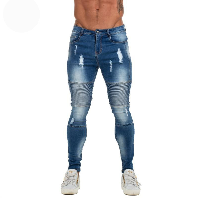 Land of Nostalgia Distressed Men's Ripped Elastic Waist Slim Fit Skinny Blue Jeans