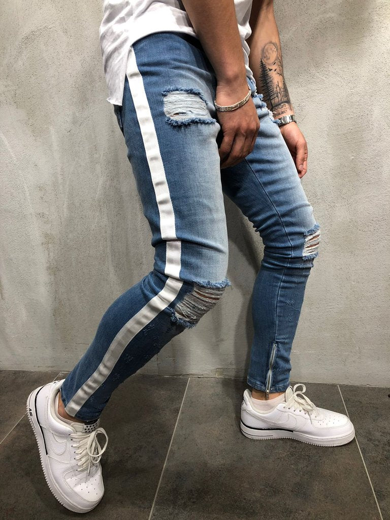 Land of Nostalgia Slim Distressed Ripped Skinny Jeans with Side Stripe