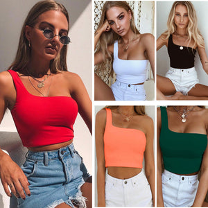 Land of Nostalgia One Shoulder Bare Midriff Sleeveless Crop Top