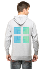 Load image into Gallery viewer, SARVESH TALK Unisex Adult Hooded Sweatshirt - Green & Blue Square (Front & Back)