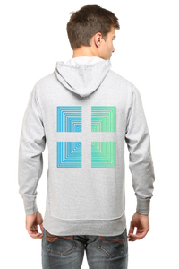 SARVESH TALK Unisex Adult Hooded Sweatshirt - Green & Blue Square (Front & Back)
