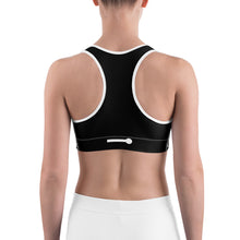 Load image into Gallery viewer, FLASHFOMO Graphic Black Sports Bra