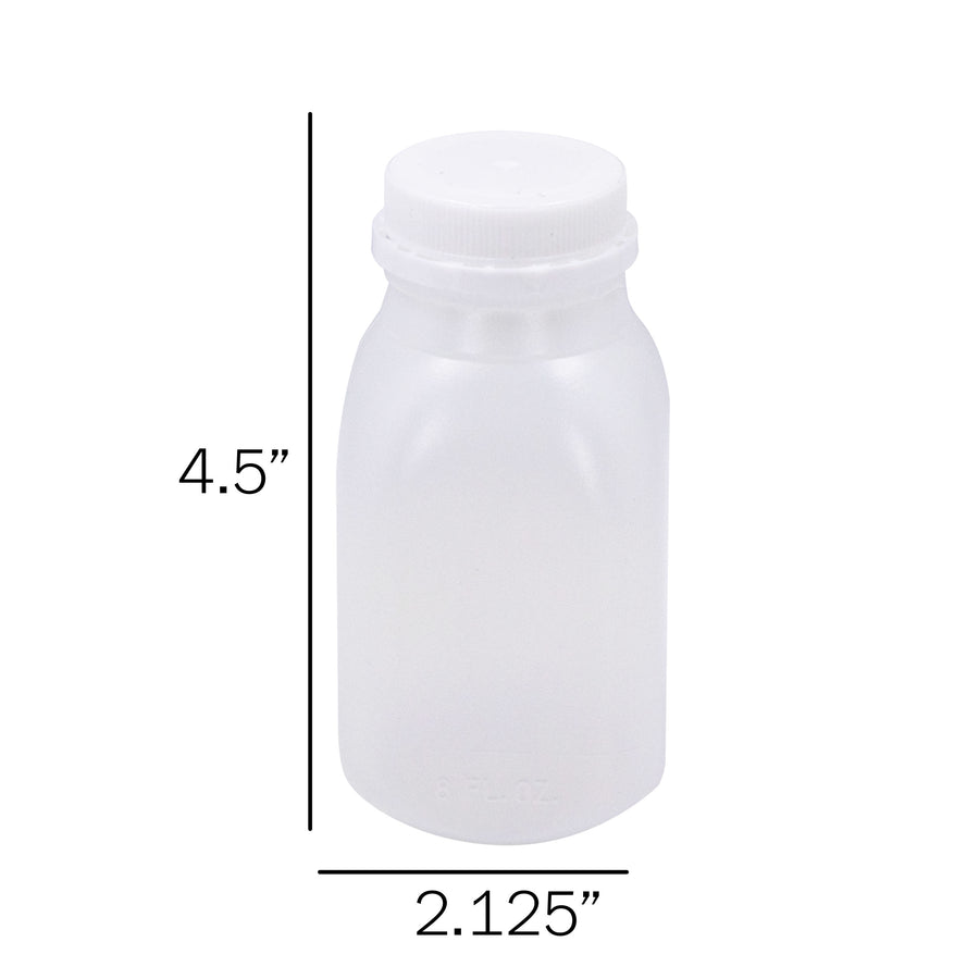 HDPE 8, 12, 16 oz 200 Pack (includes white screw caps)