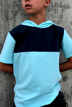 Load image into Gallery viewer, Boy's Short Sleeve Blue Hoodie T-Shirt