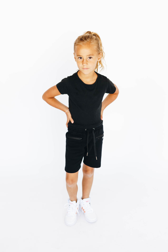 Girl's Black Athletic Shorts