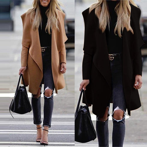 Warm Wool Blends Coat Winter Female Trench Coats